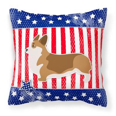 Patriotic USA Corgi Indoor/Outdoor Throw Pillow Size: 14 H x 14 W x 3 D