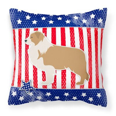 Patriotic USA Border Collie Indoor/Outdoor Throw Pillow Size: 14 H x 14 W x 3 D, Color: Red/Brown