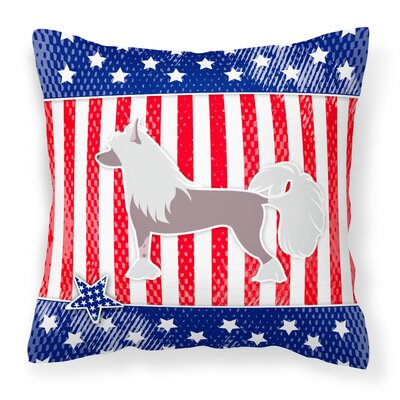 Patriotic USA Chinese Crested Indoor/Outdoor Throw Pillow Size: 14 H x 14 W x 3 D