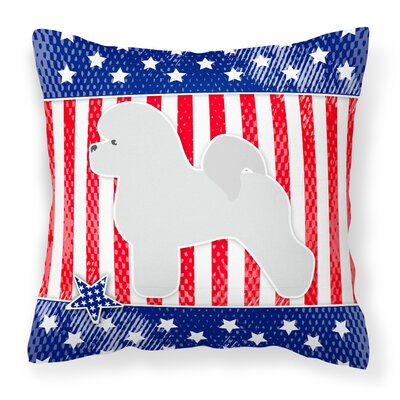 Patriotic USA Bichon Frise Indoor/Outdoor Throw Pillow Size: 14