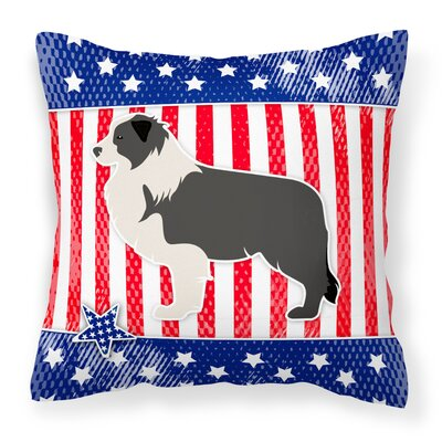 Patriotic USA Border Collie Indoor/Outdoor Throw Pillow Size: 14 H x 14 W x 3 D, Color: Red/Black