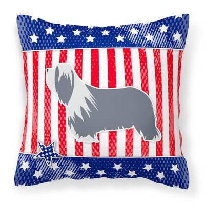 Patriotic USA Bearded Collie Indoor/Outdoor Throw Pillow Size: 14 H x 14 W x 3 D