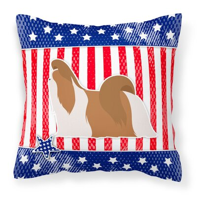 Patriotic USA Shih Tzu Indoor/Outdoor Throw Pillow Size: 14 H x 14 W x 3 D