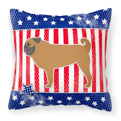 Patriotic USA Pug Indoor/Outdoor Throw Pillow Size: 14 H x 14 W x 3 D