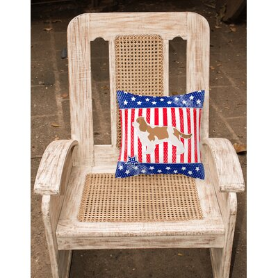 Patriotic Blue/Red Indoor/Outdoor Throw Pillow Size: 14 H x 14 W x 3 D