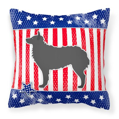 Patriotic USA Croatian Sheepdog Indoor/Outdoor Throw Pillow Size: 14