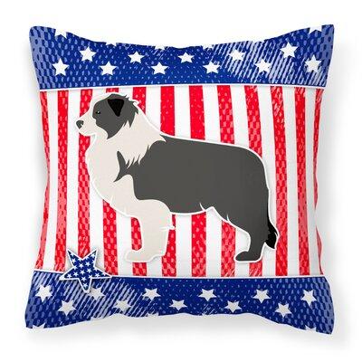Patriotic USA Border Collie Indoor/Outdoor Throw Pillow Size: 18