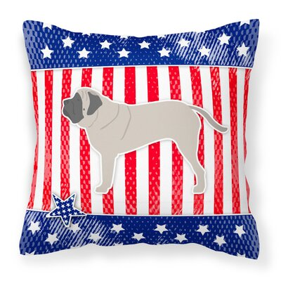 Patriotic Solid Blue/Red Indoor/Outdoor Throw Pillow Size: 18