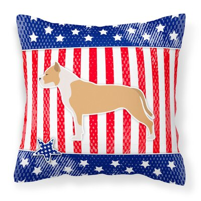Patriotic Square Blue/Red Indoor/Outdoor Throw Pillow Size: 18