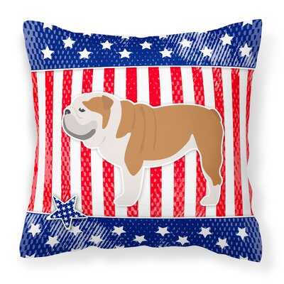 Patriotic Blue/Red Fabric Indoor/Outdoor Throw Pillow Size: 14 H x 14 W x 3 D
