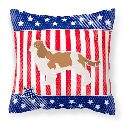 Patriotic Blue/Red Indoor/Outdoor Throw Pillow Size: 14