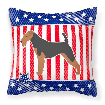 Patriotic USA Airedale Terrier Indoor/Outdoor Throw Pillow Size: 14 H x 14 W x 3 D