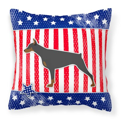 Patriotic Blue/Red Modern Indoor/Outdoor Throw Pillow Size: 14 H x 14 W x 3 D