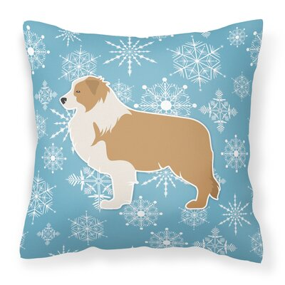Winter Snowflakes Indoor/Outdoor Throw Pillow Size: 14 H x 14 W x 3 D, Color: Blue/Brown