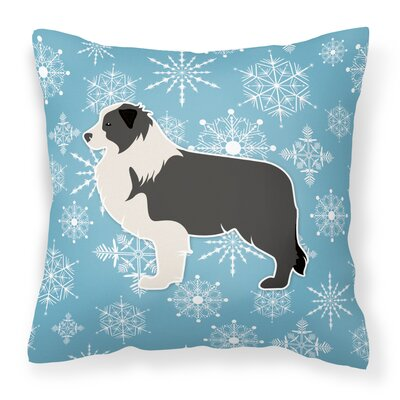Winter Snowflakes Indoor/Outdoor Throw Pillow Size: 18 H x 18 W x 3 D, Color: Blue/Black