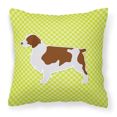 Welsh Springer Spaniel Indoor/Outdoor Throw Pillow Size: 14 H x 14 W x 3 D, Color: Brown/Green