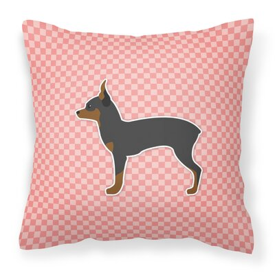 Toy Fox Terrier Indoor/Outdoor Throw Pillow Size: 18 H x 18 W x 3 D, Color: Black/Pink
