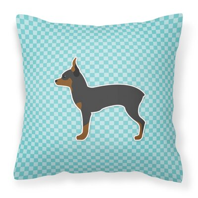 Toy Fox Terrier Indoor/Outdoor Throw Pillow Color: Black/Blue, Size: 18 H x 18 W x 3 D