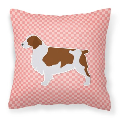 Welsh Springer Spaniel Indoor/Outdoor Throw Pillow Size: 14 H x 14 W x 3 D, Color: Brown/Pink