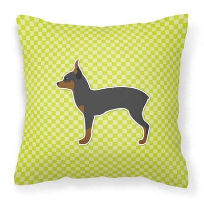 Toy Fox Terrier Indoor/Outdoor Throw Pillow Size: 14 H x 14 W x 3 D, Color: Black/Green