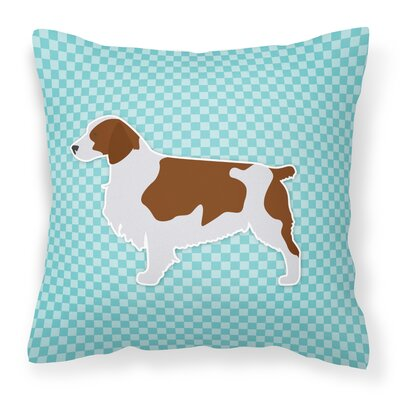 Welsh Springer Spaniel Indoor/Outdoor Throw Pillow Size: 14 H x 14 W x 3 D, Color: Brown/Blue