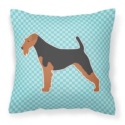 Welsh Terrier Indoor/Outdoor Throw Pillow Size: 18 H x 18 W x 3 D, Color: Black/Blue