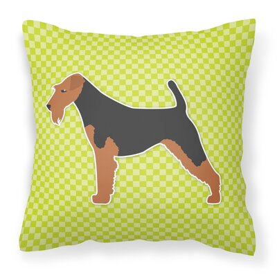 Welsh Terrier Indoor/Outdoor Throw Pillow Size: 14 H x 14 W x 3 D, Color: Black/Green