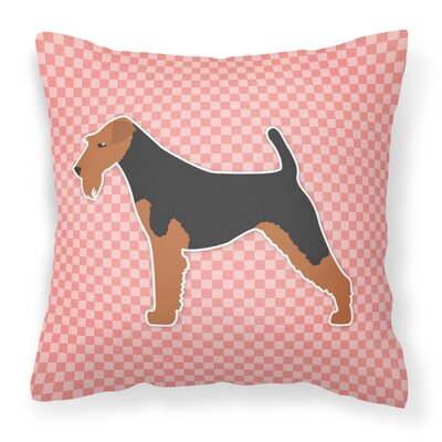 Welsh Terrier Indoor/Outdoor Throw Pillow Size: 14 H x 14 W x 3 D, Color: Black/Pink