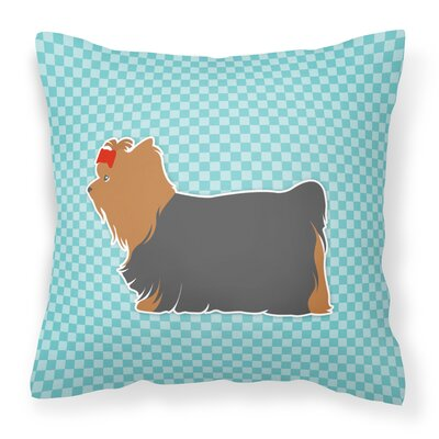 Yorkshire Terrier Indoor/Outdoor Throw Pillow Size: 14 H x 14 W x 3 D, Color: Black/Blue
