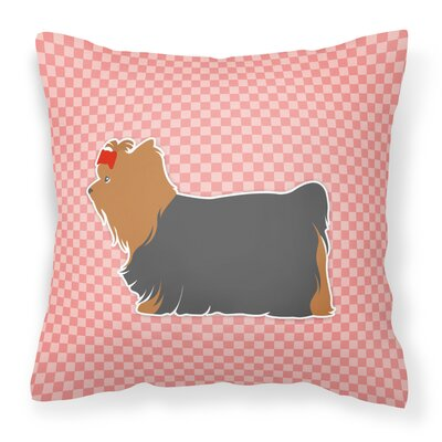 Yorkshire Terrier Indoor/Outdoor Throw Pillow Size: 18 H x 18 W x 3 D, Color: Black/Pink