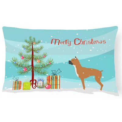 Boxer Merry Christmas Tree Indoor/Outdoor Lumbar Pillow