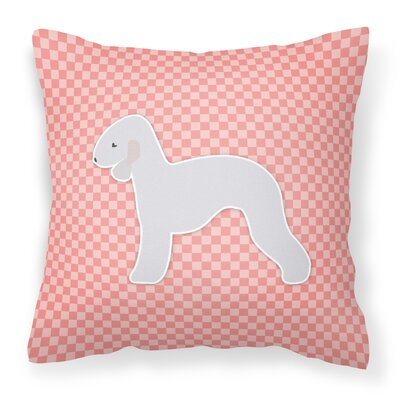 Bedlington Terrier Square Indoor/Outdoor Throw Pillow Size: 14 H x 14 W x 3 D, Color: Pink
