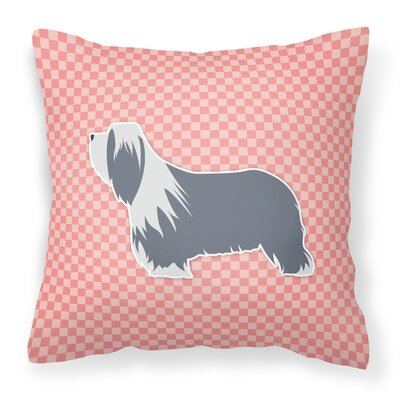 Bearded Collie Square Indoor/Outdoor Throw Pillow Size: 14 H x 14 W x 3 D, Color: Pink