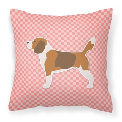 Beagle Square Indoor/Outdoor Throw Pillow Size: 14 H x 14 W x 3 D, Color: Pink
