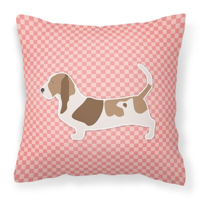 Basset Hound Indoor/Outdoor Throw Pillow Size: 14 H x 14 W x 3 D, Color: Pink