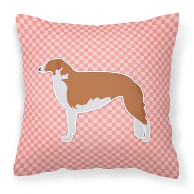 Borzoi Indoor/Outdoor Throw Pillow Size: 14 H x 14 W x 3 D, Color: Pink