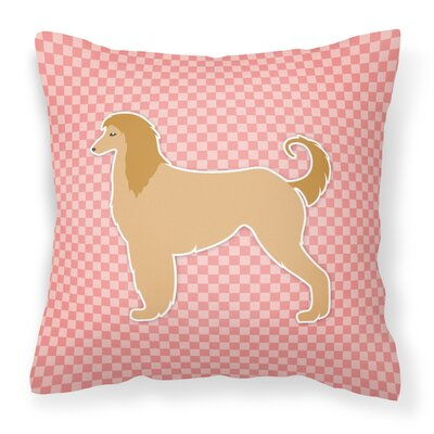 Afghan Hound Square Indoor/Outdoor Throw Pillow Size: 18 H x 18 W x 3 D, Color: Pink