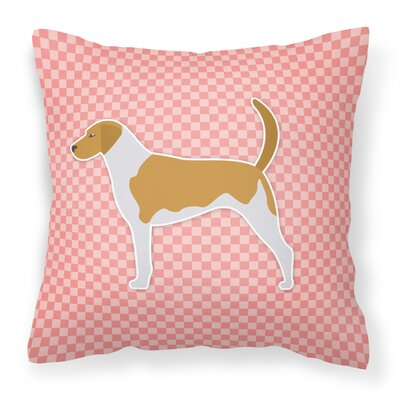American Foxhound Indoor/Outdoor Throw Pillow Size: 14 H x 14 W x 3 D, Color: Pink