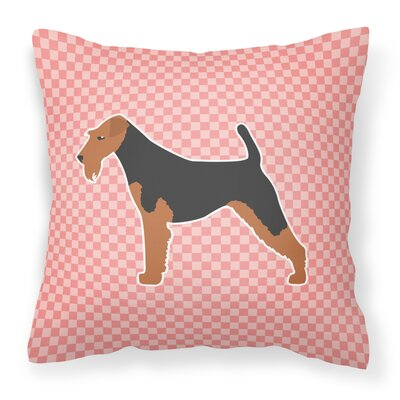 Airedale Indoor/Outdoor Throw Pillow Size: 14 H x 14 W x 3 D, Color: Pink