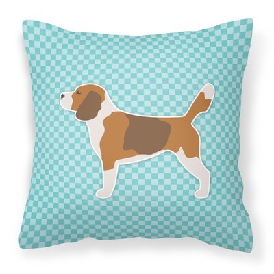 Beagle Square Indoor/Outdoor Throw Pillow Size: 14 H x 14 W x 3 D, Color: Blue