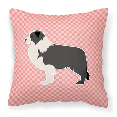 Border Collie Indoor/Outdoor Throw Pillow Size: 18 H x 18 W x 3 D, Color: Pink