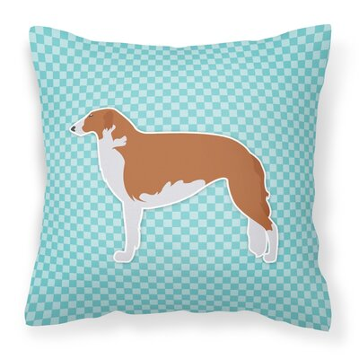 Borzoi Square Indoor/Outdoor Throw Pillow Size: 14 H x 14 W x 3 D, Color: Blue