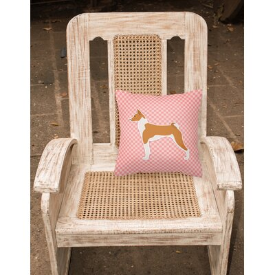 Basenji Indoor/Outdoor Throw Pillow Size: 14 H x 14 W x 3 D, Color: Pink