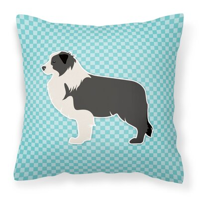 Border Collie Indoor/Outdoor Throw Pillow Size: 14 H x 14 W x 3 D, Color: Blue