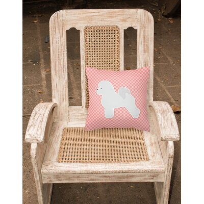 Bichon Frise Indoor/Outdoor Throw Pillow Size: 14 H x 14 W x 3 D, Color: Pink