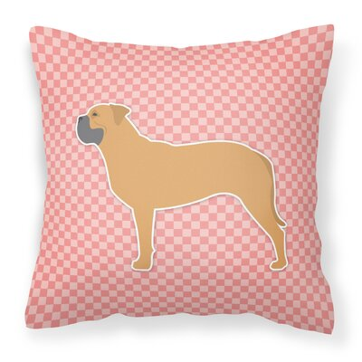 Bullmastiff Indoor/Outdoor Throw Pillow Size: 14 H x 14 W x 3 D, Color: Pink