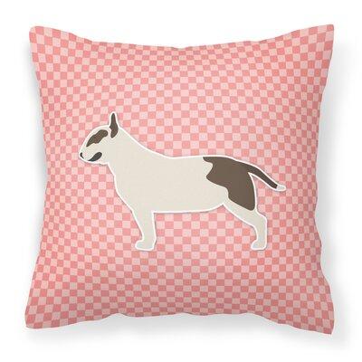 Bull Terrier Indoor/Outdoor Throw Pillow Size: 14 H x 14 W x 3 D, Color: Pink