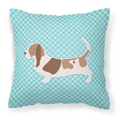Basset Hound Indoor/Outdoor Throw Pillow Size: 14 H x 14 W x 3 D, Color: Green