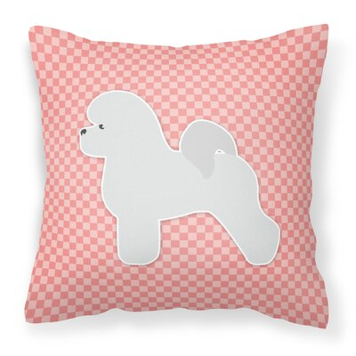 Bichon Frise Indoor/Outdoor Throw Pillow Size: 18 H x 18 W x 3 D, Color: Pink