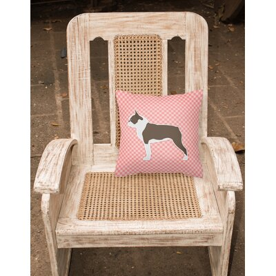 Boston Terrier Indoor/Outdoor Throw Pillow Size: 14 H x 14 W x 3 D, Color: Pink